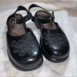 DANSKO Embroidered Mary Jane Style Clogs